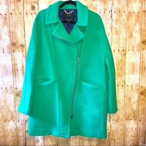 J. Crew | Green Stadium Cloth Side Zipper Coat